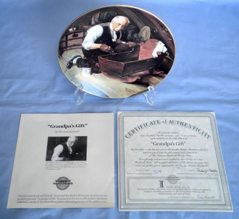 Norman Rockwells Fine China Plate Grandpas Gift Le