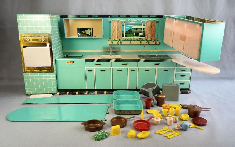 Vtg superior by t cohn modern kitchen 780 play set w for Mid century modern toy box
