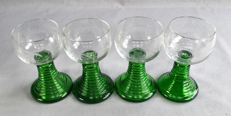 German Wine Glasses Green Stem