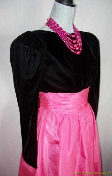 Vintage 60s Gown Audrey Hepburn Style Black Velvet Pink Taffeta Huge