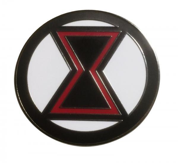 Avengers Black Widow Logo 1 5 Inches In Diameter Enamel Metal Pin Ebay