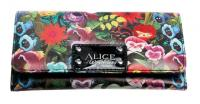 Alice In Wonderland All Over Print Flowers Clutch Snap Close WALLET