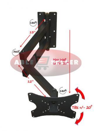 Long Arm Articulating Corner Tilt, Extra Long Swing Arm Tv Mount