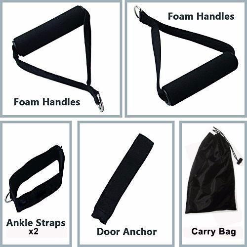 5 EXCERCISE RESISTANCE BANDS CORDS 75 LBS SET YOGA PILATES WORKOUT FITNESS 2