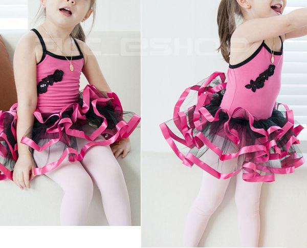 Girls Pink Black Leotard Ballet Tutu Dance Dress Sz7 8T