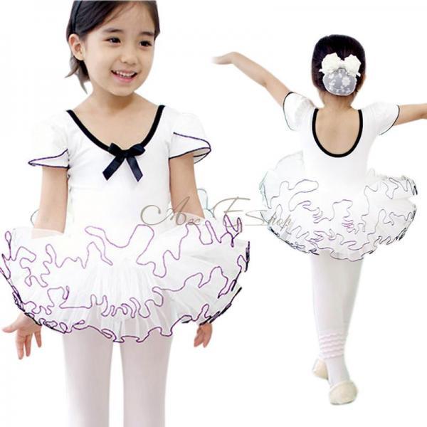 Girl Kid Short Sleeve Ballet Dance Dress Tutu Skate Leotard Fairy Costume Sz 4 7