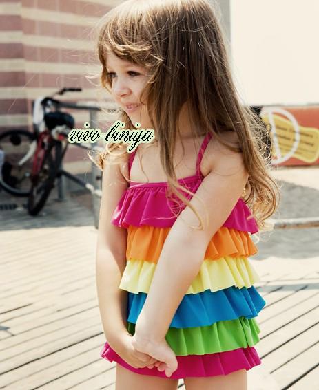 Girls Rainbow Ruffle Layered Swimsuit Swimwear Tankini Swimming