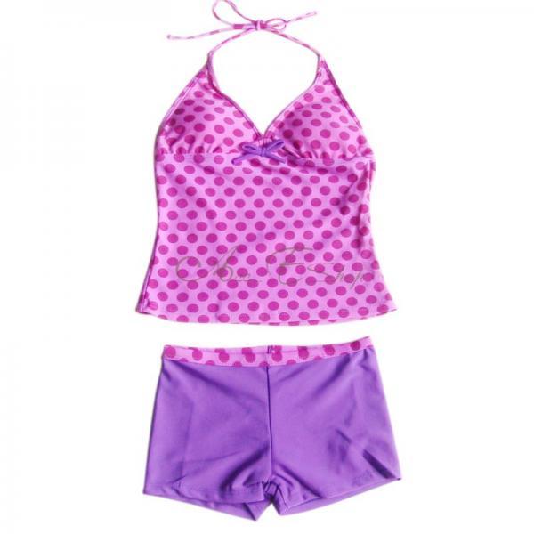 Girls Polka Dots Tankini Swimsuit Swimwear Swimming Costume Ages 8 10 12 14 16