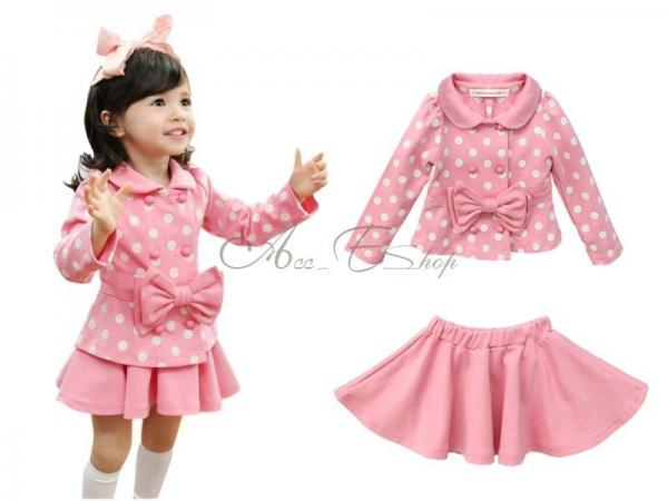 2pcs Girls Toddlers Polka Dot Bowknot Dress Top Pleated Tutu Skirt Outfits 2T 6