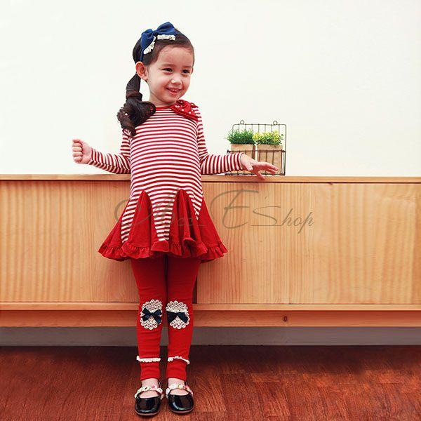 Girl Kids Stripe Top Swing Dress Leggings 2pcs Outfit Costume Clothes Ages 2 7 Y