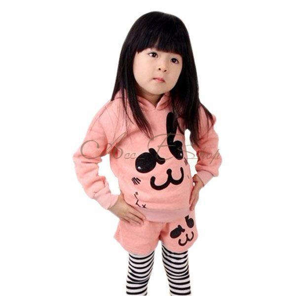Girl Kid Pink Rabbit Cotton Hoddies Pants Leggings 2pcs Sets Outfits Ages 2 7Y