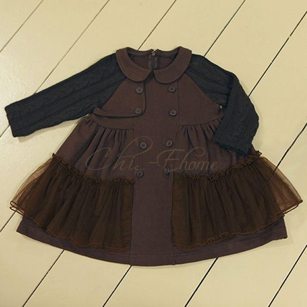 Baby Girls Pageant Party Cotton Yarn Top Dress Tulle Skirt Autumn Clothes 3T 7