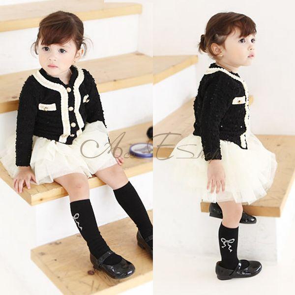 Kids 2pcs Baby Toddlers Autumn Outfits Girl Top Coat Tutu Skirt Dress Sz 4T