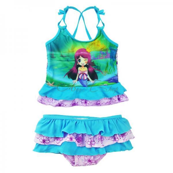 Girls Princess Ariel Mermaid Swimsuit Tankini Swimming Costume Bathing Sz 2 10Y