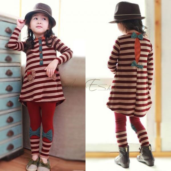 Girl Kids Stripe Long Sleeve Top Dress Bowknot Leggings 2pcs Sets Outfit Sz 2 7Y