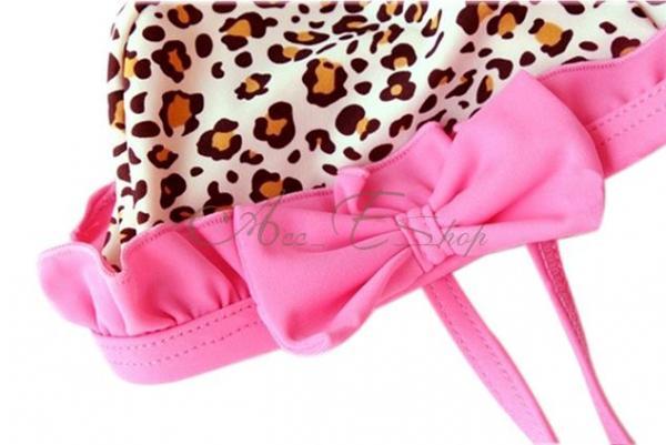 Girl Leopard Bikini Pink Ruffle Tutu Swimsuit Swimwear Swimming Costume Sz 2 6