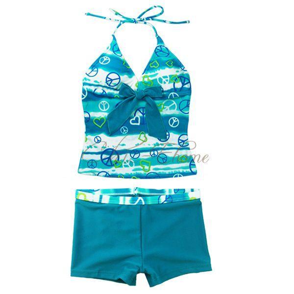 Girls Halter 2pc Tankini Set Bathing Swimming Costume ...