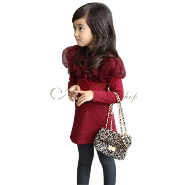 Girls Kid Long Sleeve Gauze Collar Shawl Party Top Dress Costume Ages 2 7 Years