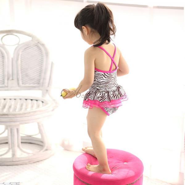 Girls Zebra Swimsuit Swimwear Pink Ruffle Tutu Swimming Costume Ages 3 7 Years