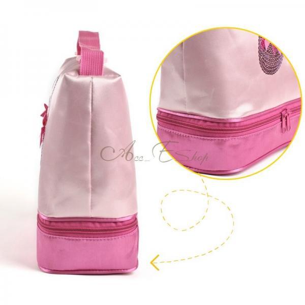 Girls Kid Pink Ballet Dance Duffle Zippered Bag Fashion Shoulder Hand Tote Gift