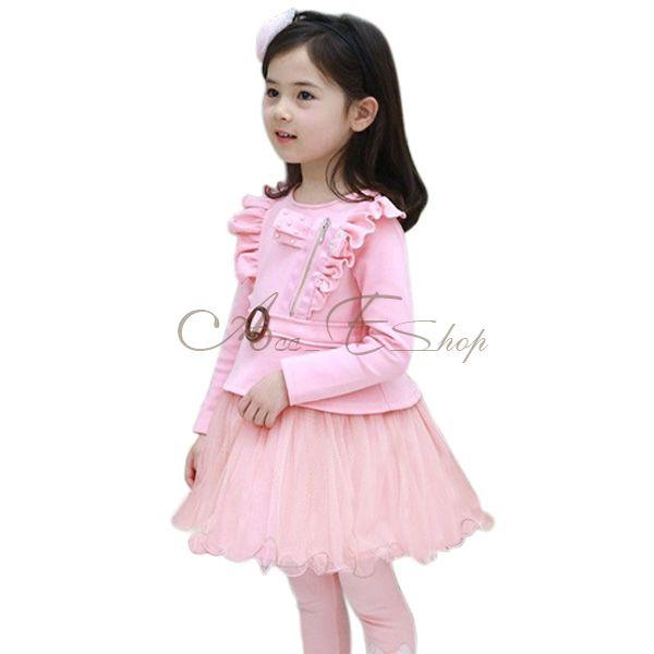 New Girl Kid Long Sleeve Ruffle Shoulder Party Tulle School Dress Pegeant Sz 3 7
