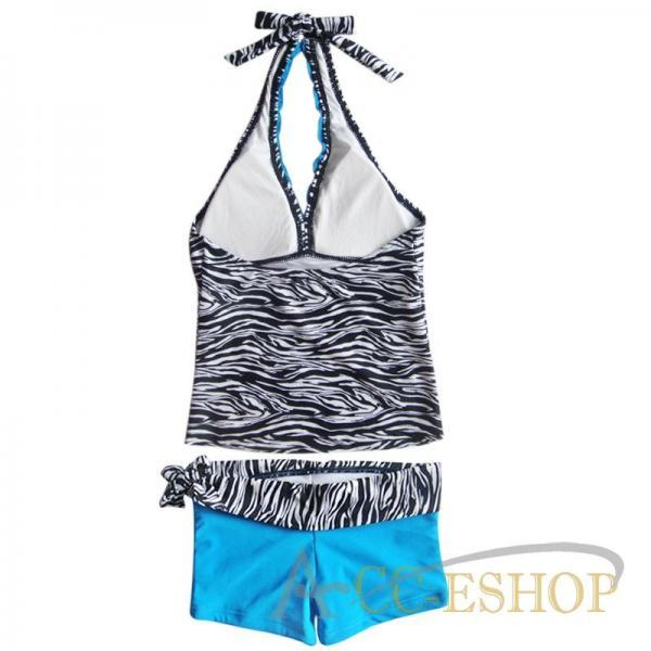 2pc Zebra Blue Girl Tankini Swimsuit Swimwear Bathing Suit Swimming Costume 9 10