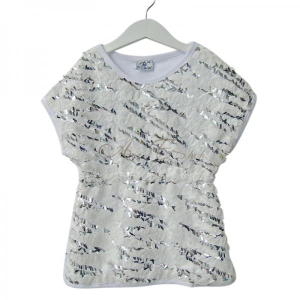 Girls Kids Sequins Bling Ruffle Top Shirt Party Dress Fancy Costume Sz 2 10