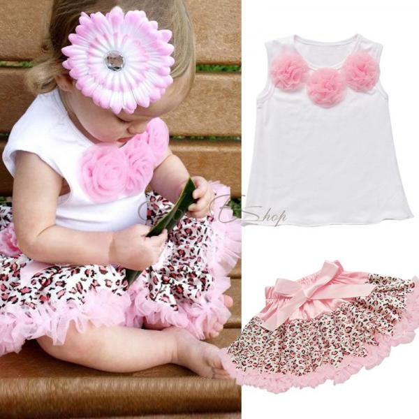 2pcs Baby Girls Kids Top Leopard Tutu Dress Skirt Pettiskirt Outfit 1 4 Years