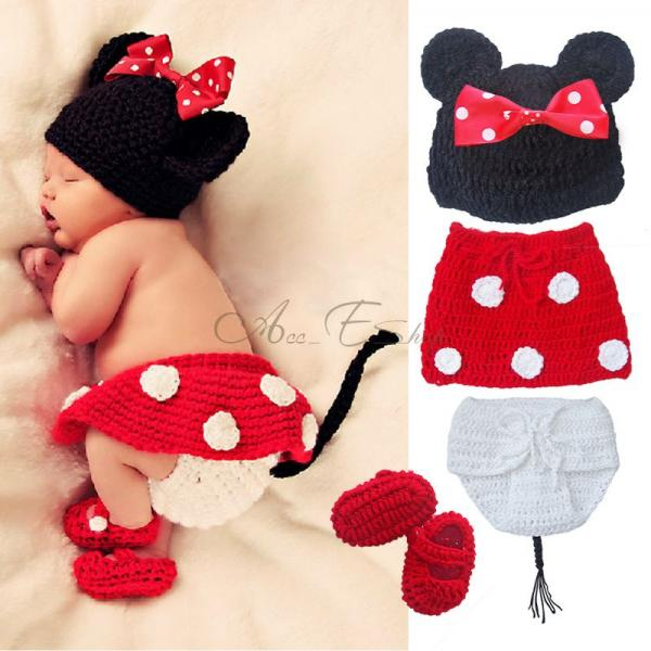baby newborn minnie mouse costume 4tlg knitted set skirt hat photo shoot. Black Bedroom Furniture Sets. Home Design Ideas