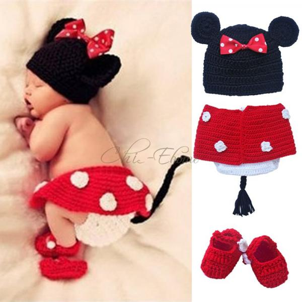 minnie mickey mouse baby strick kost m h kel outfit. Black Bedroom Furniture Sets. Home Design Ideas