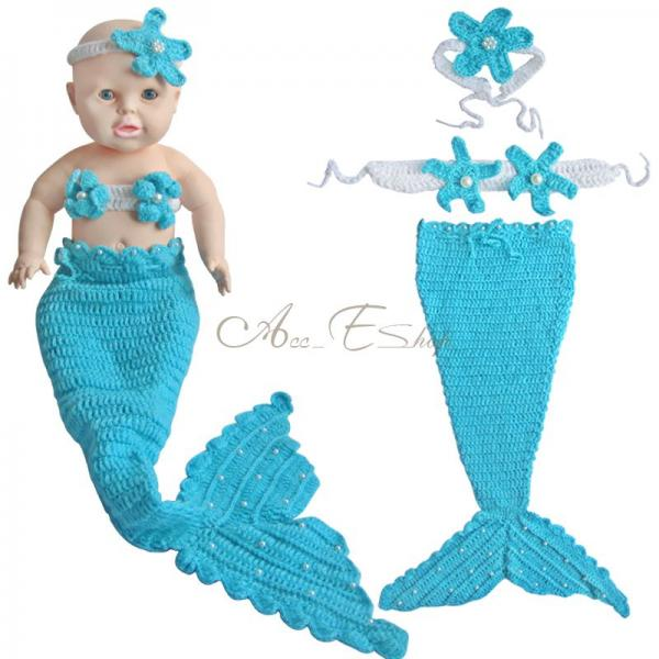 Little Mermaid 3pcs Newborn Baby Girls Outfit Crochet Tail ...