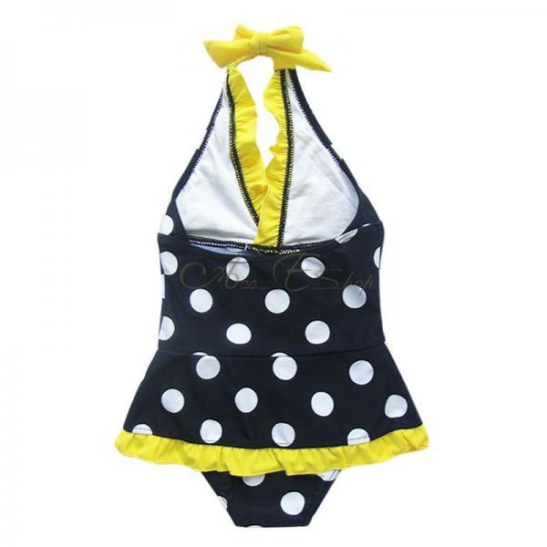 Girls Kids Polka Dots Halter Swimsuit Swimwear Bathing Suit Swimming Costume 7 8