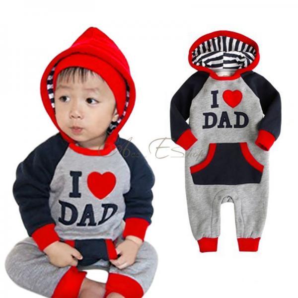 Baby Unisex Boy Girl Hoodie I Love Mum Dad Bodysuit Romper Jumpsuit Clothes