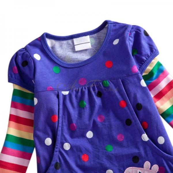 Purple Polka Dots Peppa Pig Girl Baby Rainbow Sleeve Top Dress T Shirt 1 6 Years