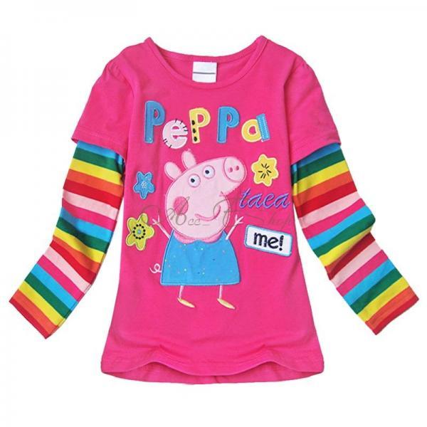 Peppa Pig Girls Baby Cotton Rainbow Long Sleeve Top T Shirt Clothing 12M 6