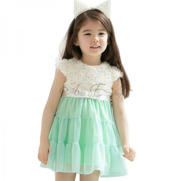 Baby Girls Kids Princess Party Rose Lace Bow Summer Chiffon Dress Clothes 2T 6