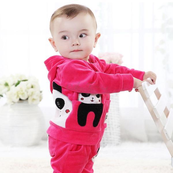 Baby Toddler Boy Girl Panda Hoodie Outerwear Top Pant Children Clothing 2pcs Set