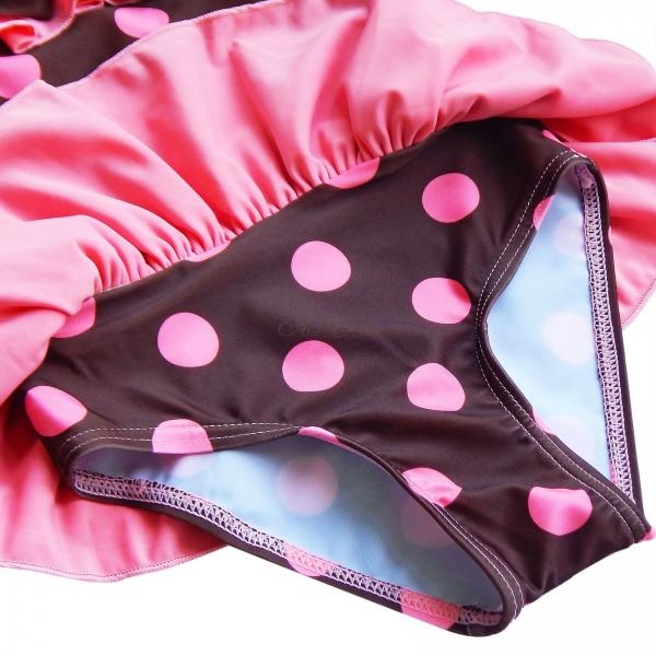 Polka Dots Girls Kids One Piece Tutu Skirt Swimsuit Swimwear Bathing Suit Sz 2 6