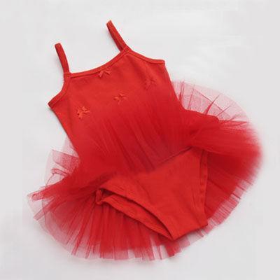Red Dance Leotard Ballet Tutu Girls Dress Skirt Sz 6 8T