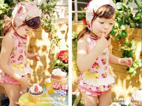 Girls Kids Size 2 6 Cherry Tankini Bikini Swimsuit Swimwear Swimming Costume