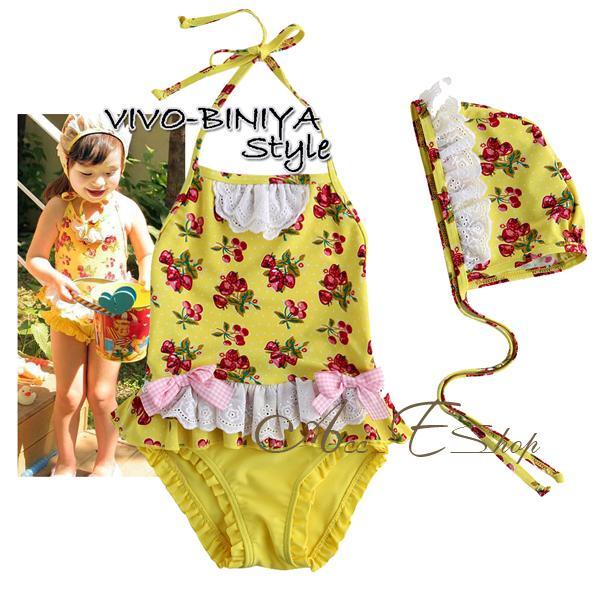 Girls Baby Size 2 6 Cherry Tankini Bikini Swimsuit Swimwear Swimming Costume