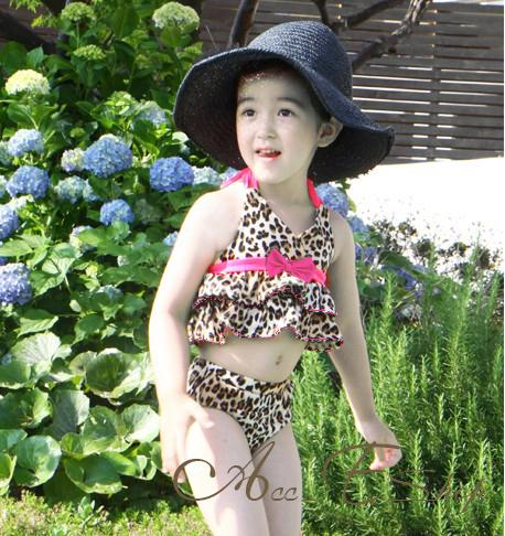 Girls Baby Size 2 6 Leopard Halter Tankini Bikini Swimsuit Swimwear