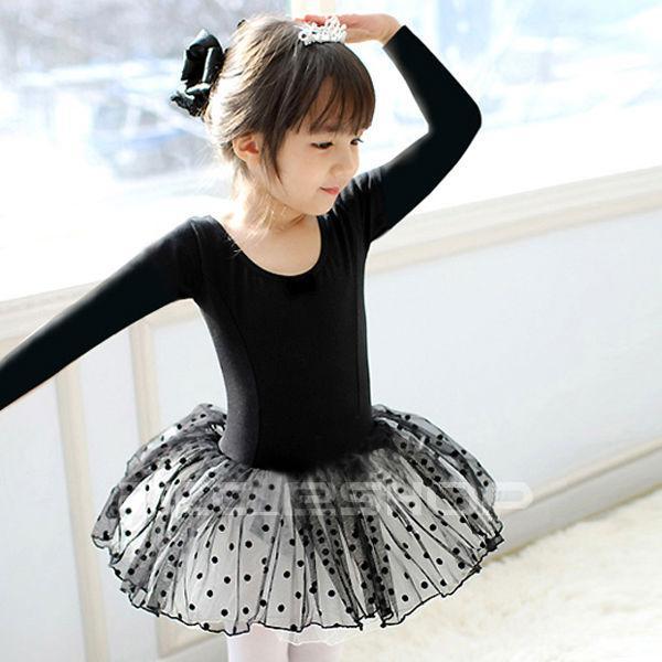 Girls Black Dance Party Leotard Ballet Costume Tutu Fairy Skirt Dress Sz 2 7Y