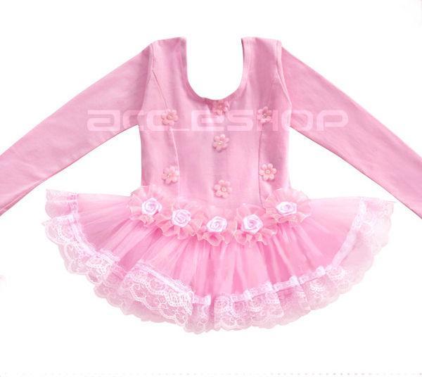 Girl Party Leotard Ballet Tutu Pink Dance Dress 4 5Y Costume Long Sleeve Skirt