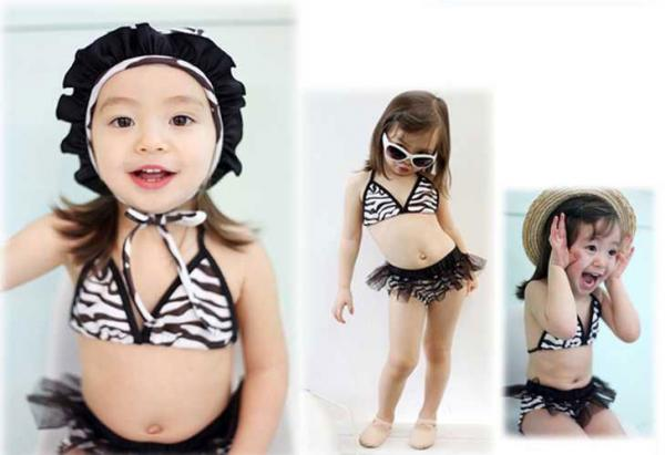 Girls ZEBRA Swimsuit Swimwear Bikini Tankini 3 4 5 6 7T