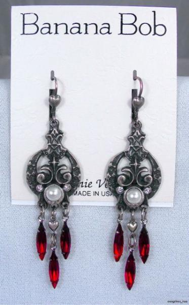 BOB Vtg RED SWAROVSKI CRYSTAL Rhinestone PEARL Dangle Pierced Earrings