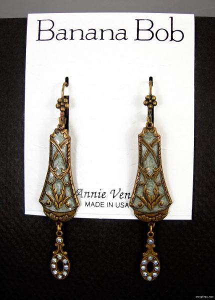 Swarovski Crystal Rhinestone Sea Green Enamel Dangle Earrings P