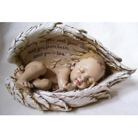 Sleeping Baby in Angel Wings Nursery Baptism Figurine | eBay