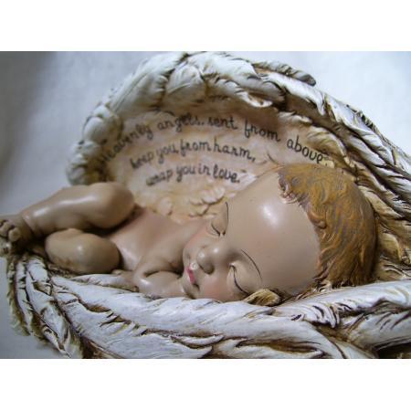 Sleeping Baby In Angel Wings Nursery Baptism Figurine Ebay