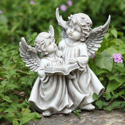 Angel cherubs garden statue indoor outdoor figurine ebay - Angel statue for garden ...